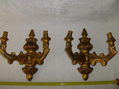 Pair Sconce Wall Lights.  Wood.  30 cm.