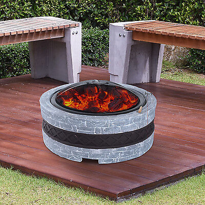 Outsunny Round Firepit Stone Effect Fireplace Outdoor Heater Bowl Burner Brazier