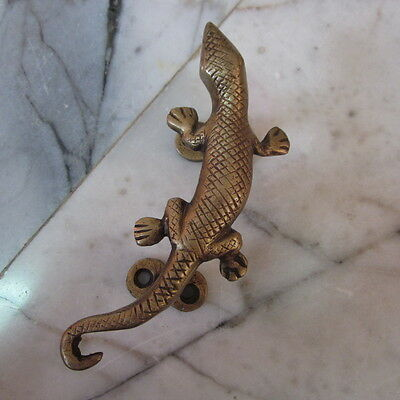 Brass Cupboard Puller Vintage Gecko Reptile lizard Antique Door wardrobe Handles