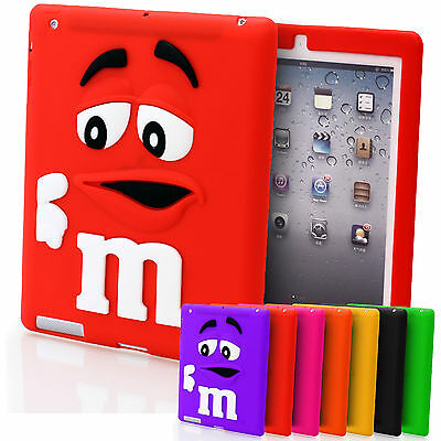 Soft Silicone 3D M&M Bean Chocolate Candy Case Cover For Apple iPad 4 3 & 2 Mini