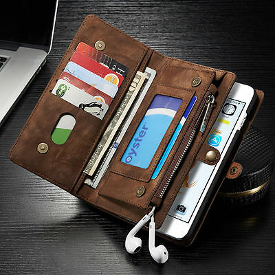 Luxury Genuine Leather Flip Wallet Phone Case Cover for iPhone 6 6s Plus 7
