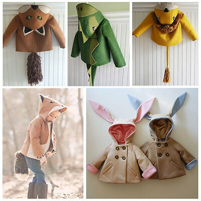 Cute Kids Baby Girls Boys Rabbit Bunny Dinosaur Fox Hooded Coat Jacket Outwear