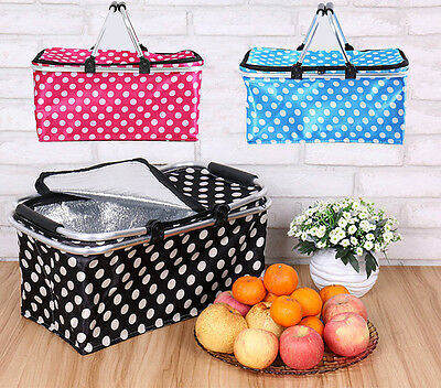 Insulated Thermal Basket 30L Picnic Storage Tote Market Collapsible Bag Shopping
