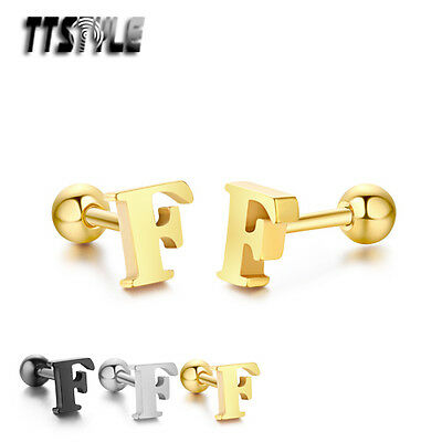 TTstyle Surgical Steel Letter F Fake Ear Cartilage Tragus Earrings 3 Colours NEW