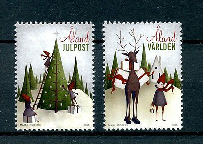 Aland 2016 MNH Christmas 2v Set Christmas Tree Trees Reindeer Stamps