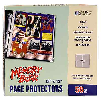 """50 Box Clear Poly 12X12"""" Scrapbook Page Protectors Top Load Fits 3-Ring Binders"""