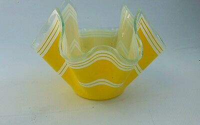 Chance handkerchief vase/bowl, vintage 60s/70s glass,yellow and white lines 10cm