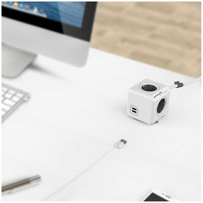 allocacoc PowerCube Extended USB inkl. 3 m Kabel grau Type F