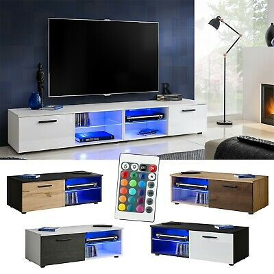 Modern TV Stand Cabinet High Gloss TV Unit Entertainment Lowboard T32-100cm+LED