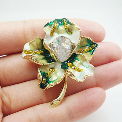 Beautiful Gold-plated Lily Flower Vintage Brooch Pin Green Austrian Crystal