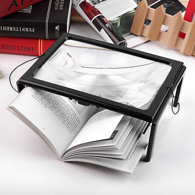 LARGE Hands Free Magnifying Glass With LED Light Magnifier For Reading Newspaper