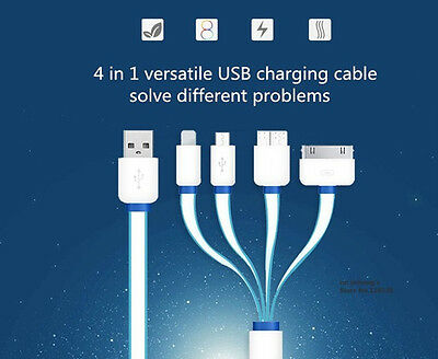 4 in 1 Charging Cable with 8 Pin Lighting / 30 Pin / Micro USB / USB 3.0 Ports