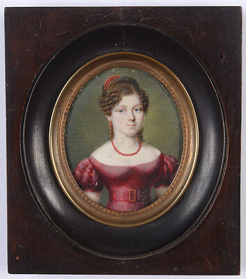 """""""Portrait of a lady in crimson gown"""", fine French miniature, ca. 1820"""