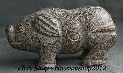 """7"""" Antique Chinese Hongshan Culture Old Jade 12 Zodiac Year Pig Animal Statue"""