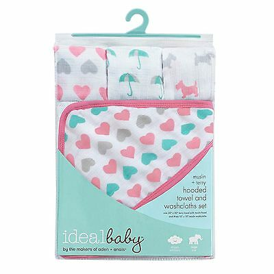 Ideal Baby  Hooded Towel and Washcloths Set, 3 different styles to choose from