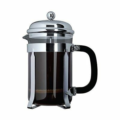 Grunwerg 3-Cup Plunger Coffee Maker Chrome Heat Resistant Glass Cafetiere