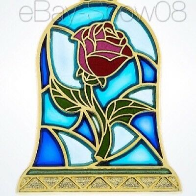 Beauty And The Beast Rose Pin Disney Park Authentic New With Card