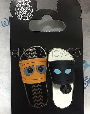 Wall-e & Eve Sandal Pin Set With Card Authentic Disney Park New