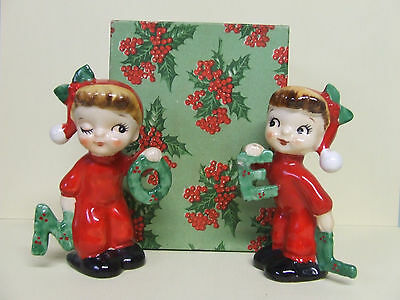 "Vintage Christmas Napco ""NOEL"" Boy & Girl w/Red Outfits Salt & Pepper Shakers (#"