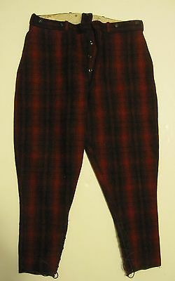 """VINTAGE 1953 WOOLRICH RED BLACK PLAID WOOL HUNTING PANTS WITH LACES 38"""" x 28"""""""