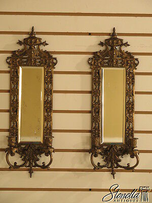 38224E: Pair Antique Mirrored Bronze Candelabras w. Dolphins Wall Sconces