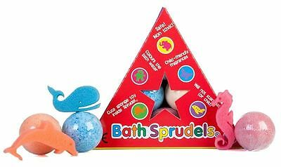 Bath Bomb Sprudels, 6 Pack, Each Contain Cute Sponge Toy, Great Gift!