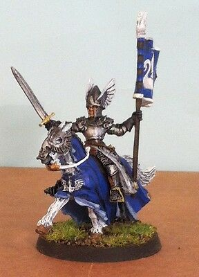 Warhammer lotr metal, painted Knights of Dol Amroth Mounted Banner Bearer