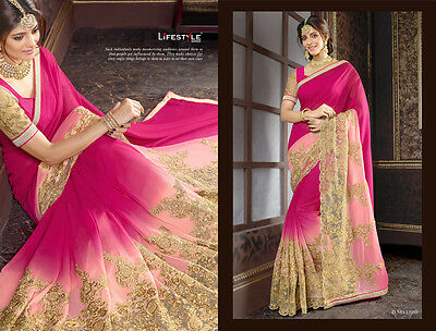 Indian Shaded Georgette Heavy Work Wedding Saree Pakistani Bridal New Sari Us594