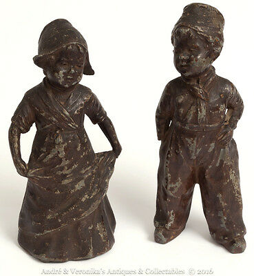 Antique Pair of Spelter Figures DUTCH BOY & GIRL Farm Rustic, Cute, Vintage Chic