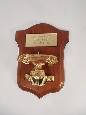 1967 Austin Healey Trophy Plaque Gold Tone Cast Metal Mounted on Wooden Plaque