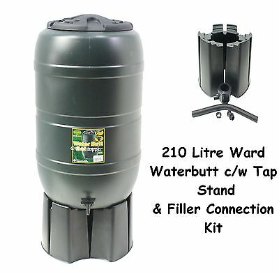 Ward Garden Green Plastic 210 Litre Water Butt Kit c/w Stand Tap Connection Set