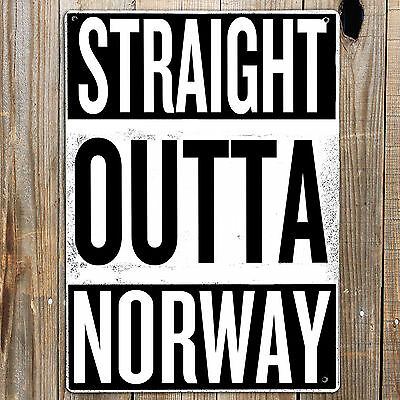 STRAIGHT OUTTA NORWAY Personalised Metal Sign Man cave Garage NWA Rap Art