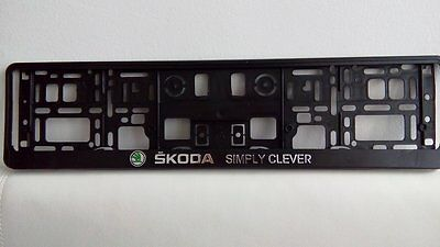 Skoda Simply Clever 2 x 3D License Number plate holder