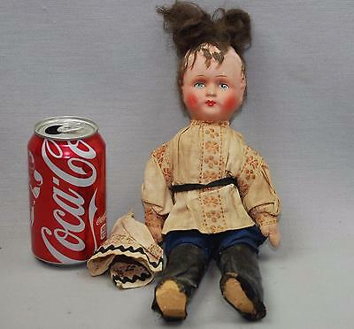 "Antique Russian German ? Celluloid Burlap Wire Jointed Body 12"" Solider Doll"
