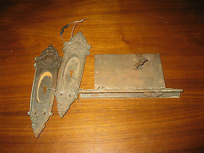 Antique Eastlake Victorian Russell & Erwin Co. Door Pulls Anjou 7975 & Lock Set