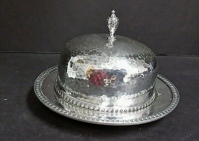 Antique Derby Silver Plate W.M. Mounts Hand Beaten Silverplated Butter Dish