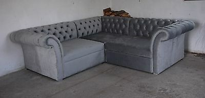 grau chesterfield ecksofa 250cm 250 cm mit schlaffunktion 5 jahre garantie eur. Black Bedroom Furniture Sets. Home Design Ideas