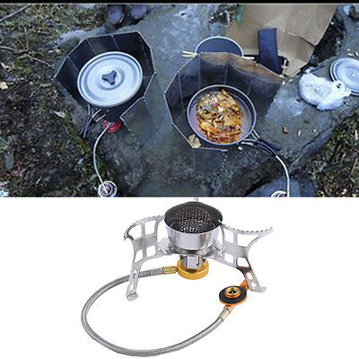 Outdoor Butane Burner gas Stove Electronic Lighter Camping Portable Windproof
