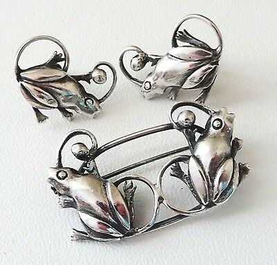 Vintage Effinger Sterling Silver Frog Pin & Earrings Delightful Set