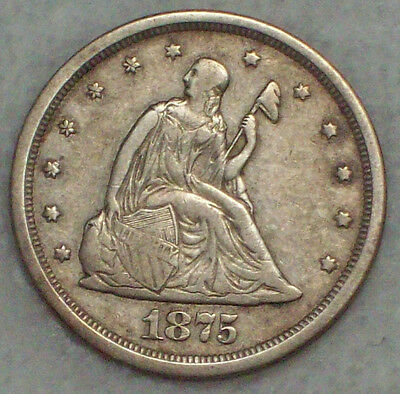 1875 S 20 Twenty Cent Piece *SILVER* BF-5 Variety Early Die State XF Detailing