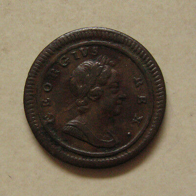 Copper Farthing 1719 Coin King George I Good Very Fine Grade (Large Letters)