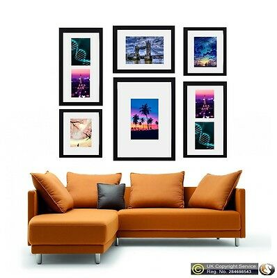 6 Piece Multi Picture Frame Photo Frame With Mount Collage Wall Hanging Frame