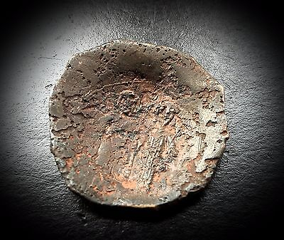 Rare Ancient Byzantine Coin Latin Rulers of Constantinople Bronze Trachea c1246