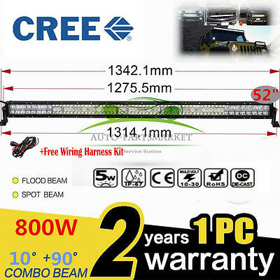 "Offroad Driving Lamp 4WD SUV UTV 800W 52""INCH CREE LED Combo Work Light Bar"