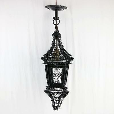 Antique Black Metal Filagree Lantern Pendant Light Spanish? VTG Twist Fixture