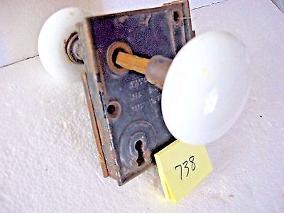 Antique D.M. and Co. Lockset with Porcelain knobs. Inv738