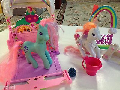 VINTAGE MY LITTLE PONY 1990s HASBRO stable two horses