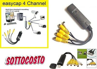 Scheda Usb 2.0 Grabber Pc Acquisizione 4 Canali Video + 1 Audio Pc Notebook Net