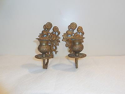 Antique Pair of Solid Brass Wall Sconce Candle Holders