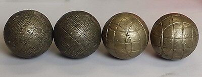 "Lot of 4 Vintage European Brass Bocce Balls Pellino Lawn Bowling Small 2.5"" Jack"